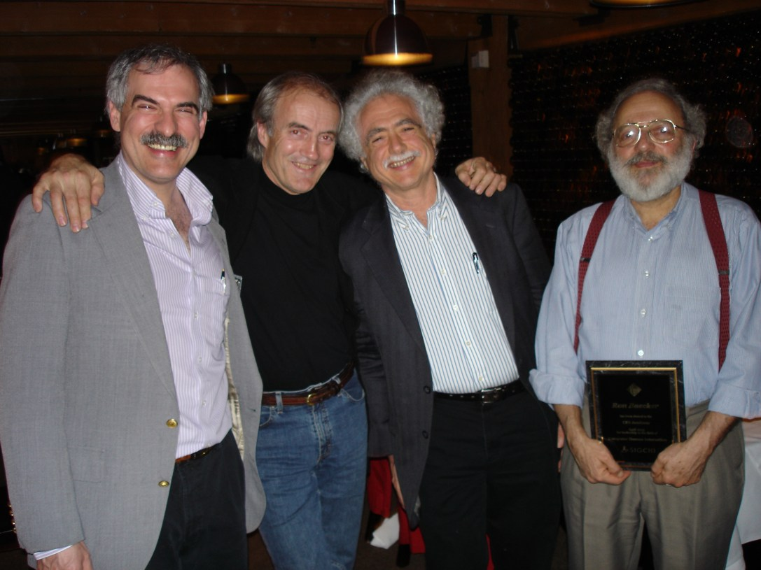 Myers with Bill Buxton, Terry Winograd, and Ron Baecker (left to right) at the CHI 2005 event in Portland, Oregon in April 2005.