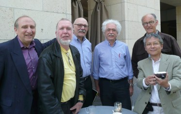 Ben Shneiderman, Kevin Kelly, Robert Horn, Terry Winograd, Bill Verplank, and Hiroshi Ishii (left to right) during a visit at Stanford University on May 23, 2008.