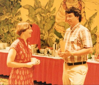 Susan Dray with a colleague at the USA-Japan International Conference in Honolulu, HI in 1987.