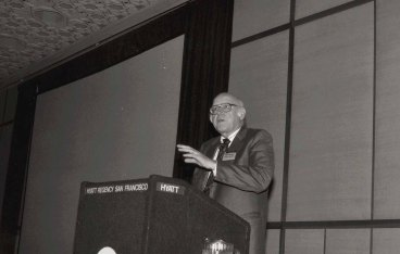 Newell speaks at the ACM CHI Conference on Human Factors in Computing Systems in San Francisco, CA on April 14, 1985.