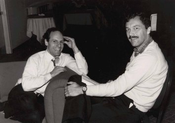John Thomas with Ted Selker at the ACM CHI Conference on Human Factors in Computing Systems on April 13, 1986 in Boston, MA.