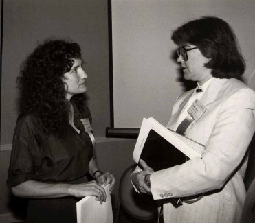 Judy Olson with Wendy Mackay at the ACM CHI Conference on Human Factors in Computing Systems in Boston, MA in April 1986.