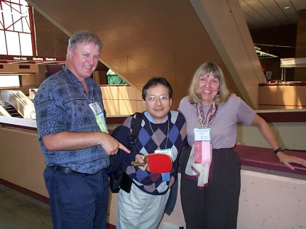 Liam Bannon (l), Hiroshi Ishii, and Marilyn Mantei at the ACM CHI Conference on Human Factors in Computing Systems in Pittsburgh, PA in April 1999.