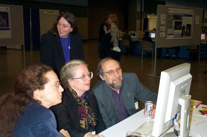 Justine Cassell, Susan Dumais, Wendy Kellogg, Ben Shneiderman at the ACM CHI Conference on Human Factors in Computing Systems in Seattle, WA on April 4, 2001.