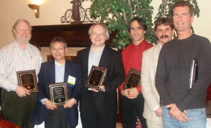 The SIGCHI Academy class of 2006 (from left): George Robertson, Hiroshi Ishii, Jakob Nielsen, Michel Beaudoin-Lafond, Scott Hudson, Peter Pirolli at the ACM CHI Conference on Human Factors in Computing Systems in Montreal Canada on April 24, 2006.