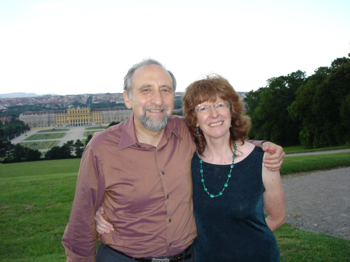 Ben Shneiderman and Jenny Preece in Vienna, Austria during UI4ALL, June 28, 2004.