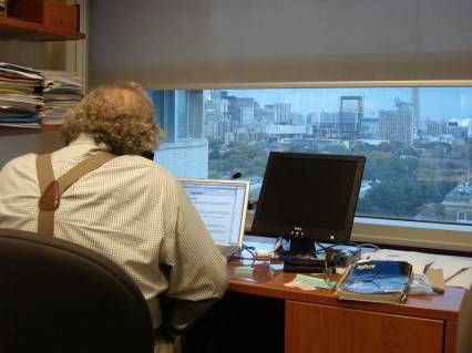 Baecker working in his office at the University of Toronto in Canada in October 2006.