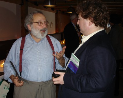 Baecker and Joe Konstan at the ACM CHI Conference on Human Factors in Computing Systems in Portland, OR on April 5, 2005.