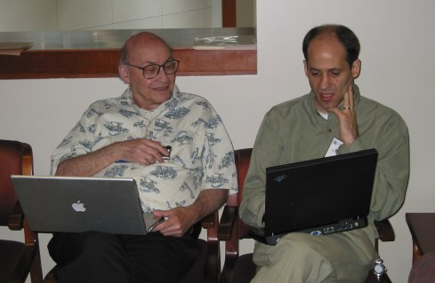 Bederson (r) and Marvin Minsky at the Interaction Design and Children Conference in Baltimore, MD, June 2, 2004.