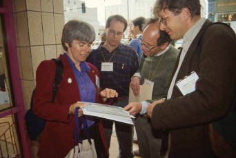 Plaisant with Derek Matthews, Bob Singers, and Staffan Truve (left to right) at the ACM CHI Conference on Human Factors in Computing Systems in May 1995 in Denver, CO.