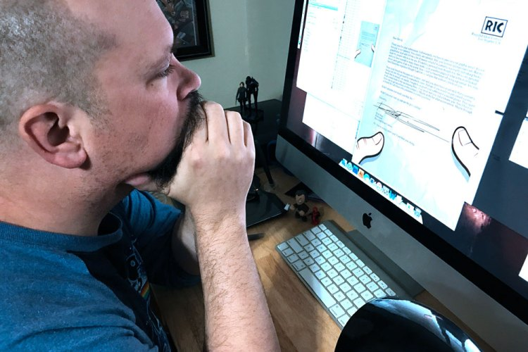 Howie writing Float comic book