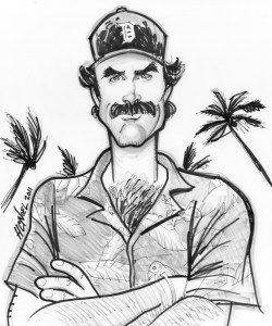 custom caricature sample tom selleck magnum PI