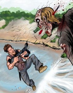 Walking Dead Art Print Daryl vs. Zombie
