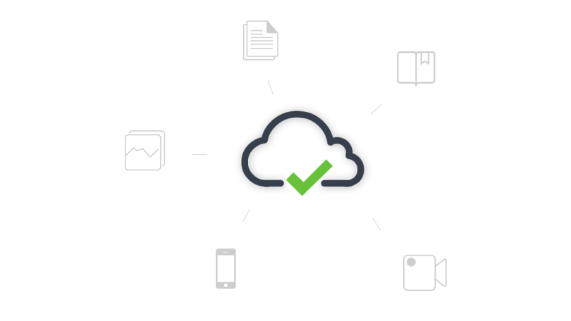 Image of a phone, data, notes, and camera around a cloud
