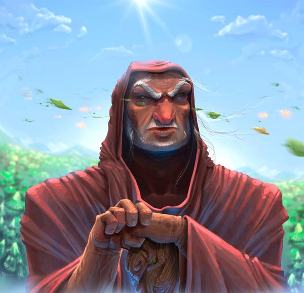 Cartoon image of evil man in cloak