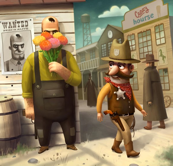 Cartoon image of a sheriff looking for a wanted man