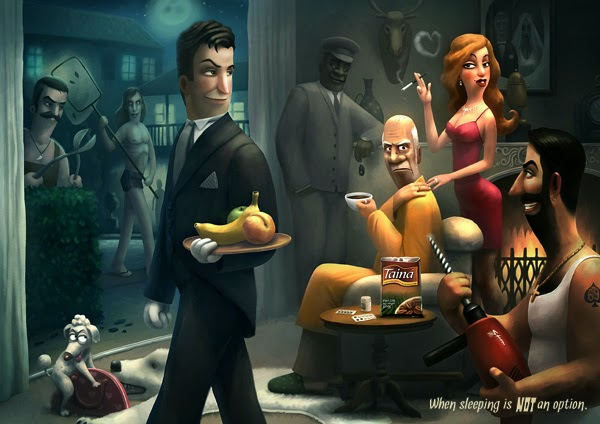 Cartoon image of a waiter and others at a restaurant