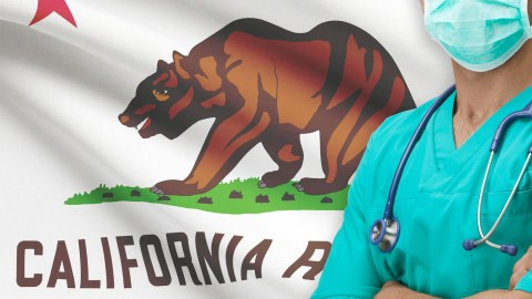Surgeon with California states flags on background - California