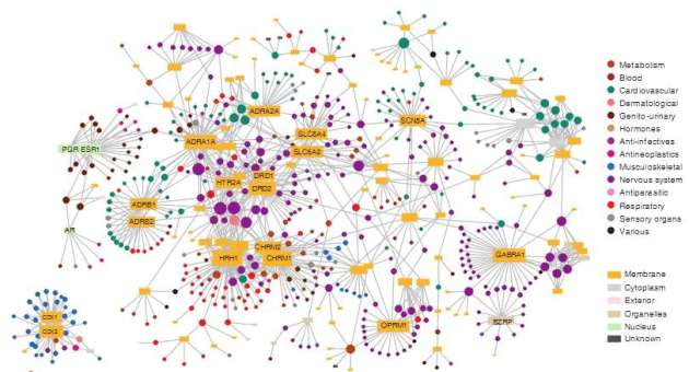 Figure : Drug target network (Yildirim et al. (2007) Computational Biology 25(10): 1119-1126)