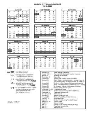 2018-2019 School Year Calendar / 2018-2019 School Calendar