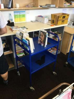 Trolleys to move the books on