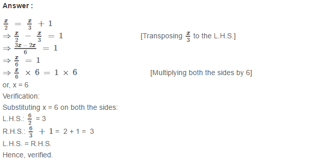 Linear Equation In One Variable RS Aggarwal Class 6 Maths