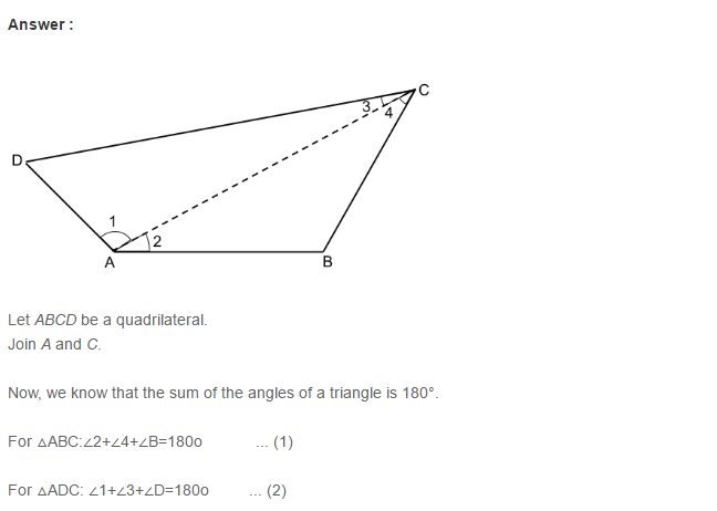 Quadrilaterals RS Aggarwal Class 8 Maths Solutions
