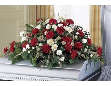 Stock image of Flowers on a casket