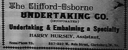 Advertisement for the Clifford Osborne Undertaking Company