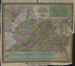 Map of Virginia and West Virginia used to show the distance Gerald Jackson Jones moved during his life