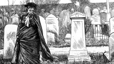 Mourning by the graveside