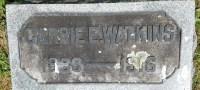 Grave marker of Miss Carrie E. Watkins
