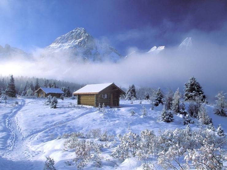 HD Winter cabin wallpaper android, Pc Desktop 1024p