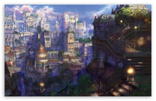 1920x1080 Wallpaper Fururistic Girl Fantasy Town Ultra Hd Desktop Background Wallpaper For 4k