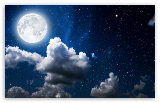 moon clouds dark skya