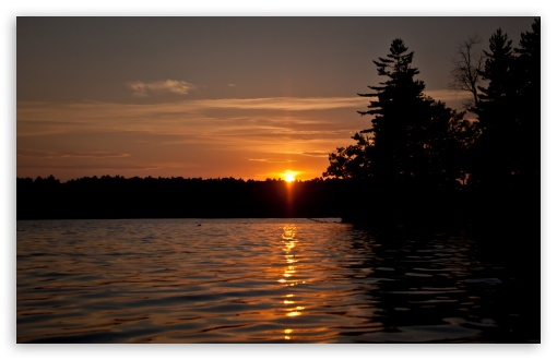 orange sunset on cobbosseecontee lake monmouth maine wallpapers
