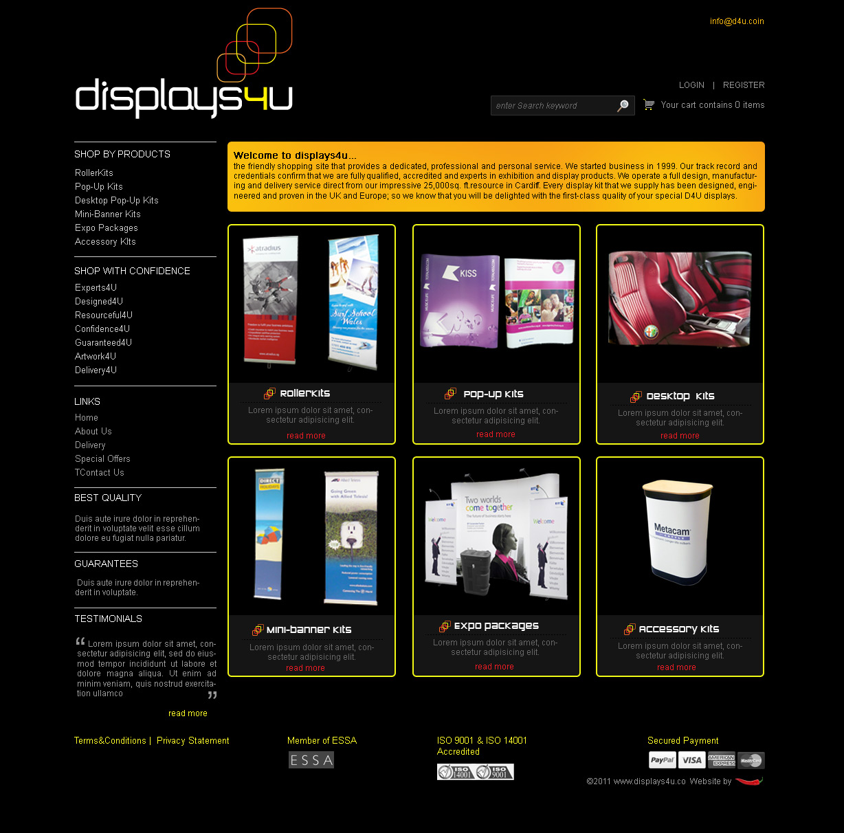ecommerce website design, display printing, merchandise printing, online shop