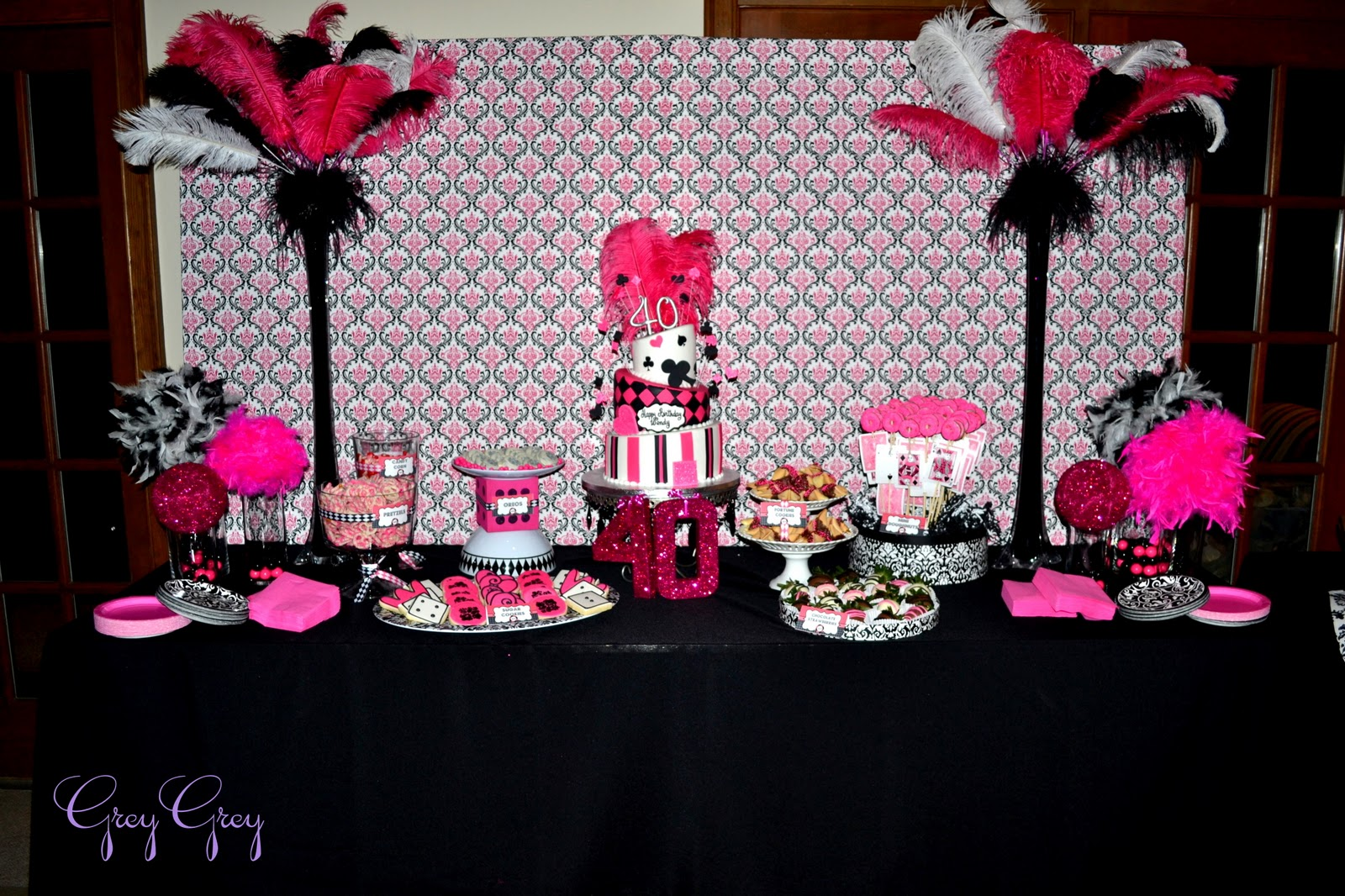 Pink And Black Party Decorations 3 Background Wallpaper