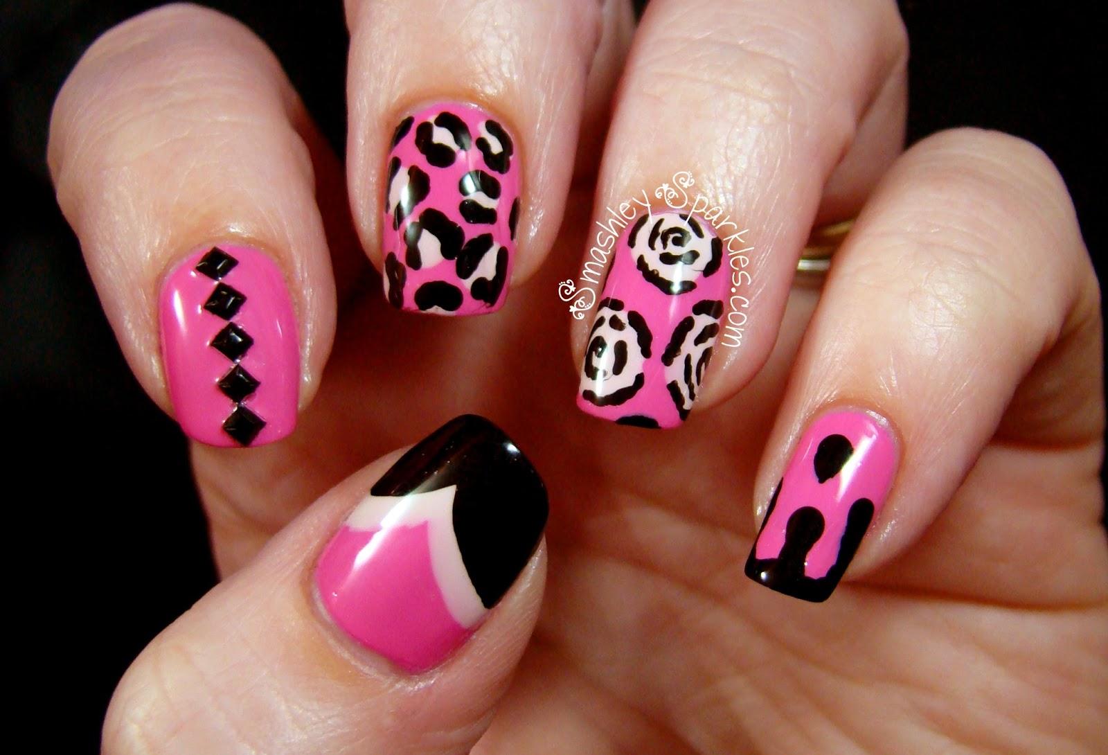 Pink And Black Nail Designs 23 Widescreen Wallpaper
