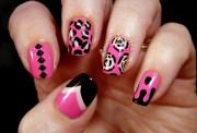 pink and black nail design 23