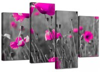 Black And Pink Canvas Wall Art - wall decor - large pink ...