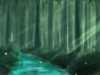 forest anime background mystic creatures light manga dark river desktop fantasy raja hdblackwallpaper deviantart deviant
