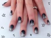 black and silver nail design 7