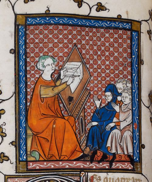 Detail of a miniature of Prudence writing at her desk, with pupils before her,from Laurent d'Orleans' La somme le roi, France (Paris) 2nd quarter of the 14th century, Royal MS 19 C II, f. 48v - http://britishlibrary.typepad.co.uk/digitisedmanuscripts/2014/06/the-burden-of-writing-scribes-in-medieval-manuscripts.html#sthash.Bn9DoJgp.dpuf
