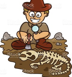 young archaeologist discovering fossil cartoon vector art illustration [ 890 x 1024 Pixel ]