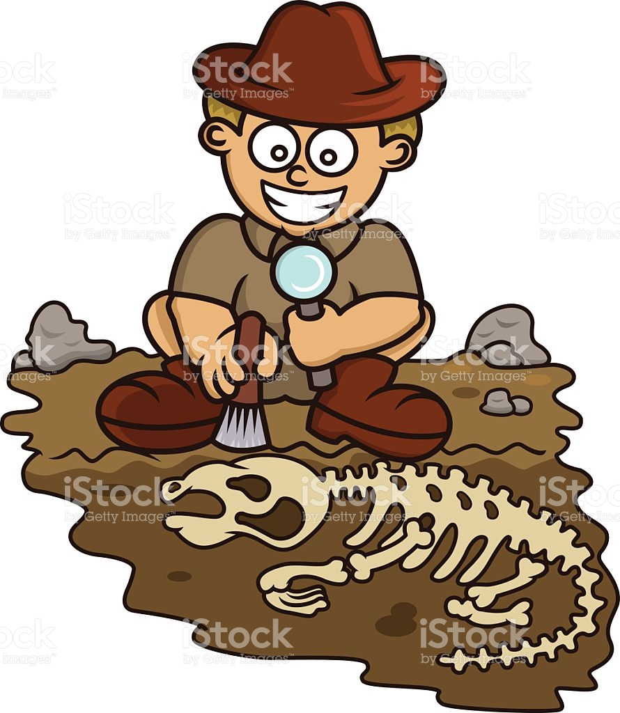 hight resolution of young archaeologist discovering fossil cartoon vector art illustration