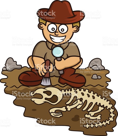small resolution of young archaeologist discovering fossil cartoon vector art illustration