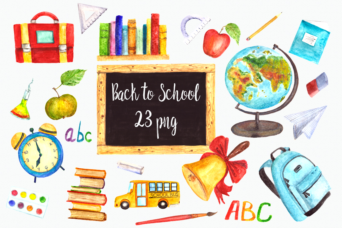 hight resolution of watercolor back to school clip art set example image 1