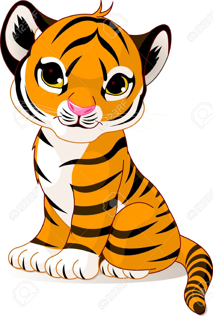 medium resolution of a cute character of sitting tiger cub