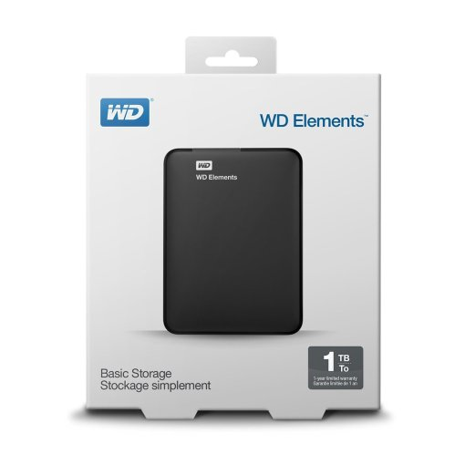 WD Elements portable external hard drive review, box